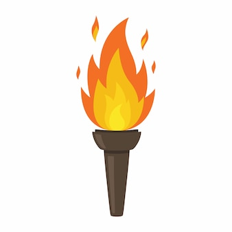 Tocha isolada no fundo branco. fogo. símbolo dos jogos olímpicos. figura em chamas.