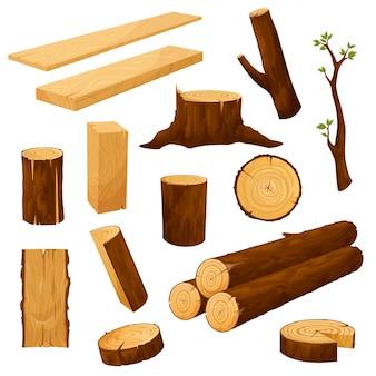 Toco de árvore, materiais de madeira e toras de madeira
