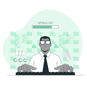 Toda a ilustração do conceito de dados