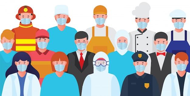 Toda profissão com máscara protetora epidemia parar vírus corona premium download grátis