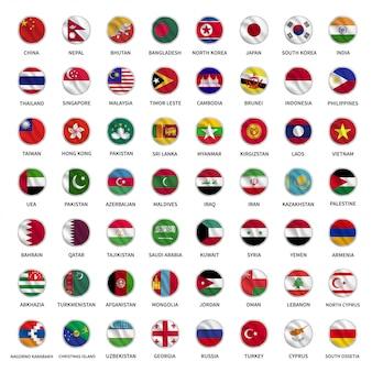 Todas as bandeiras do país asiático círculo estilo acenando