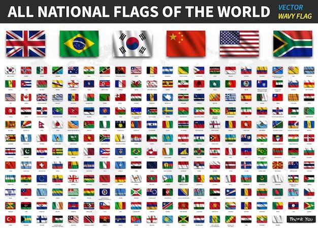 Todas as bandeiras nacionais do mundo. textura de tecido ondulado realista