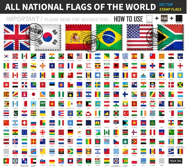 Todas as bandeiras nacionais oficiais do mundo. projeto de forma de selo antigo com zero