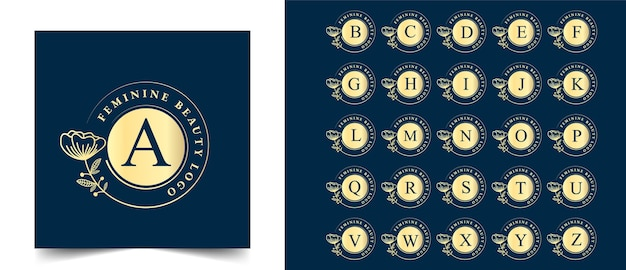 Todas as letras iniciais desenhadas à mão com logotipo botânico feminino e floral adequado para boutique de beleza de cabelo de pele de salão de spa e empresa de cosméticos