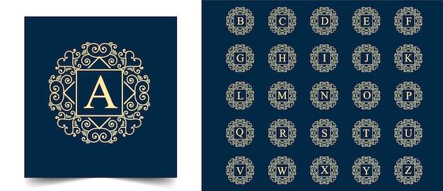 Todas as letras iniciais desenhadas à mão para beleza feminina e logotipo botânico floral adequado para boutique de beleza de cabelo de pele de salão de spa e empresa de cosméticos