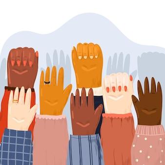 Todas as vidas importam pessoas levantando os punhos