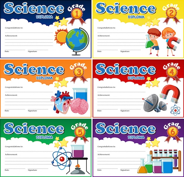 Todo o modelo de diploma de ciência de grau