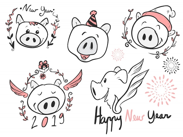 Todo o porco de desenhos animados de rosto para o ano novo, vetor, doodle e arte de linha, feliz ano novo