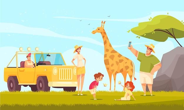 Todo o terreno dirigindo aventuras de safári com uma família jovem e crianças fazendo fotos de girafas