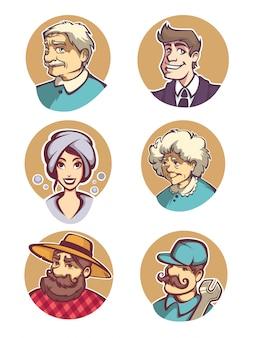 Todos os avatares de pessoas de desenhos animados