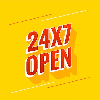 Todos os dias, 24 horas e 7 dias, design de banner aberto