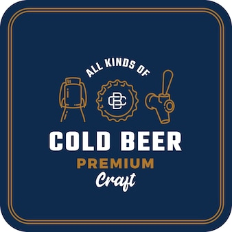 Todos os tipos de cerveja gelada. sinal abstrato de cerveja, logotipo ou modelo de porta-copos.