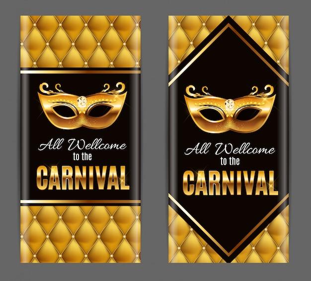 Todos são bem vindos ao carnaval, evento popular no brasil. design com máscara de festa. conceito masquerade.