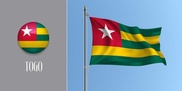 Togo agitando bandeira no mastro e redondo