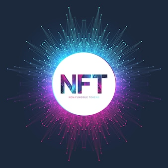 Token não fungível nft. ícone de tokens não fungíveis cobrindo o conceito nft. vetor de logotipo de símbolo de tecnologia de alta tecnologia.