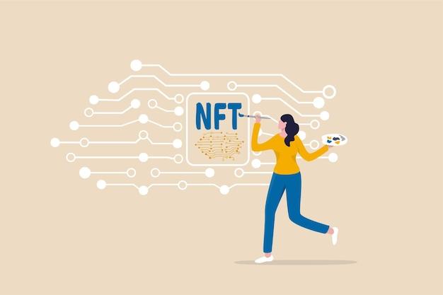 Token não fungível nft, venda de arte criptográfica ou pintura como ativo digital exclusivo com pagamento de criptomoeda em site de licitação online, artista mulher pintando uma bela tela digital com a palavra nft.