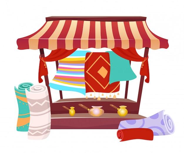 Toldo do comércio do bazar com tapetes feitos à mão ilustração do vetor dos desenhos animados. tenda do mercado oriental, dossel com lembranças, objeto de cor lisa de tapetes persas. letreiro justo asiático isolado
