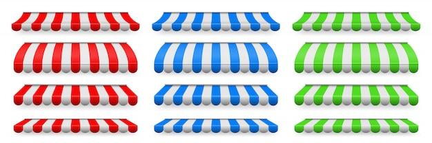 Toldos listrados coloridos ajustados para a loja, restaurantes.