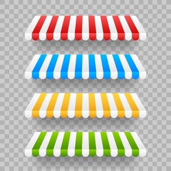 Toldos listrados coloridos para loja, restaurantes e loja de mercado.