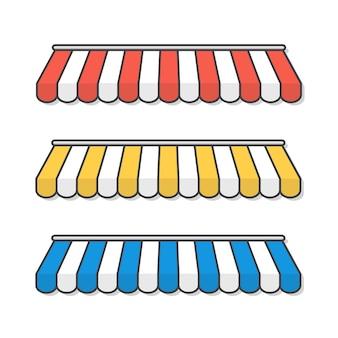 Toldos listrados para ilustração do ícone da loja. ícone plano de elementos de design de construção