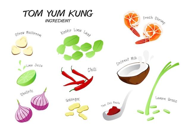 Tom yum kung ingrediente