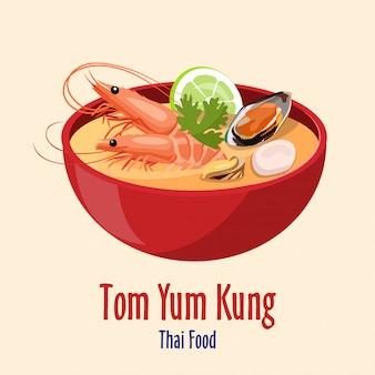 Tom yum kung - tigela vermelha com saborosa sopa de frutos do mar com camarão limão e ostras, cozinha tailandesa