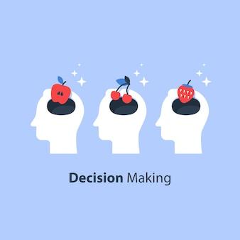 Tomada de decisão, psicologia da escolha, grupo de foco, conceito de marketing, mentalidade ou preconceito, manipulação e persuasão, armadilha mental, ilusão cognitiva, ilustração plana