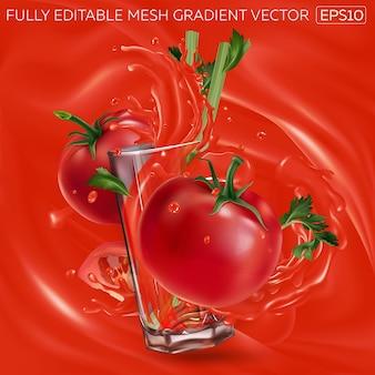 Tomate com aipo e um copo de suco de vegetais em um fundo de suco de tomate.