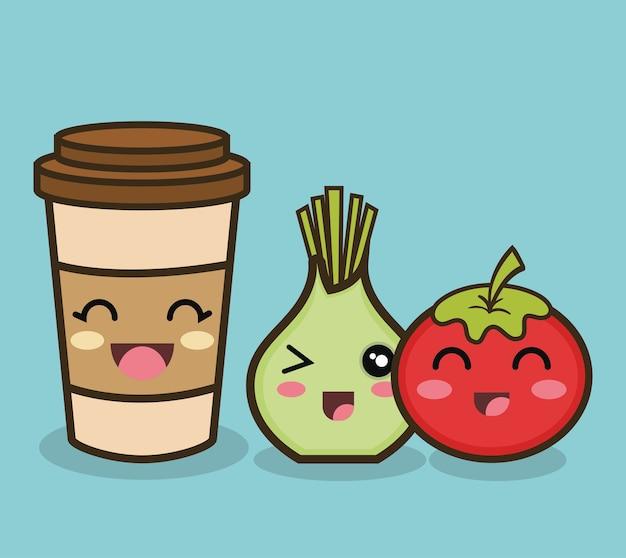 Tomate de cebola dos desenhos animados e xícara de café