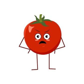 Tomate fofo com emoções raivosas, frutas vermelhas, herói mal-humorado ou engraçado