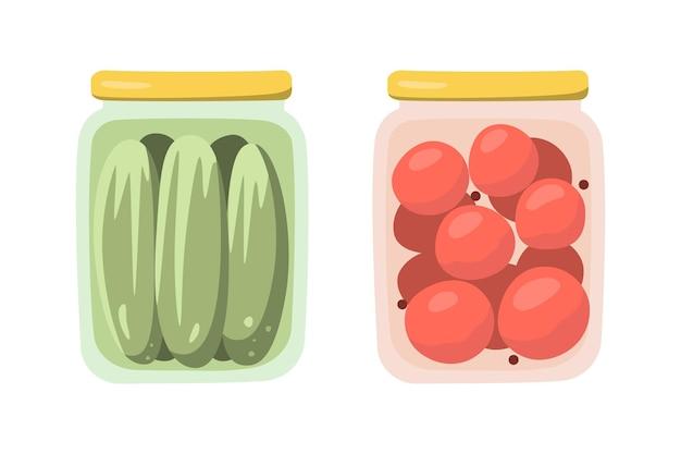 Tomates e pepinos em conserva em conserva nos bancos. objetos isolados em estilo simples. ilustração vetorial