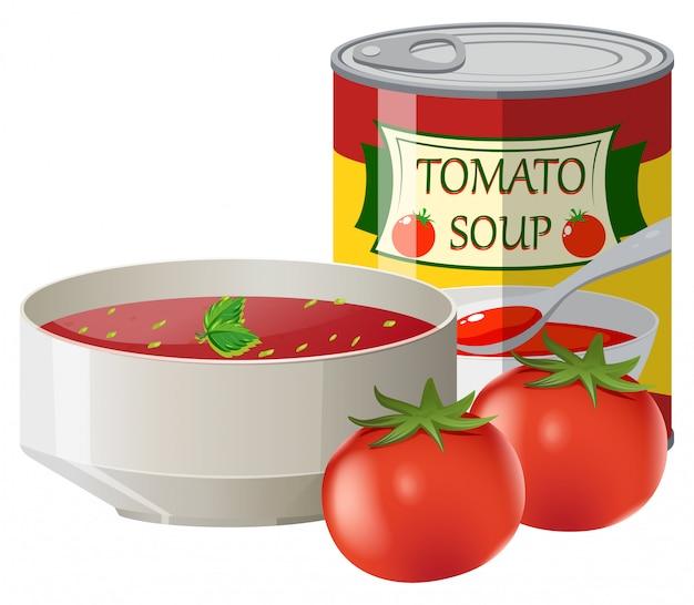 Tomates frescos e sopa de tomate em lata