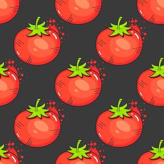 Tomates vermelhos vintage em ilustração vetorial de padrão sem emenda
