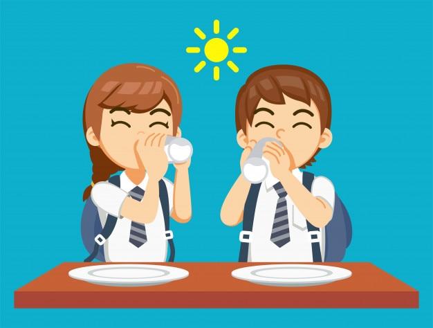 Tome café da manhã e beba leite antes de ir para a escola.