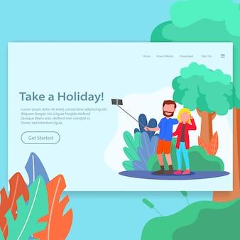 Tome uma ilustração de página de destino de férias