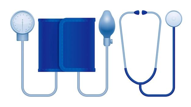 Tonômetro manual aneróide com ilustração da pressão arterial médica do estetoscópio