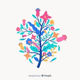 Tons de azul na silhueta do design plano de flores