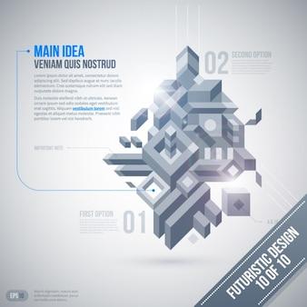Tons de cinza 3d infográfico com um estilo futurista