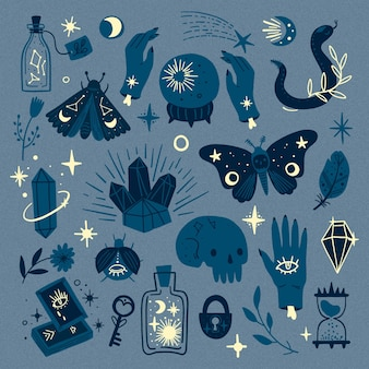 Tons de elementos ocultos esotéricos azuis