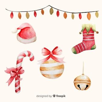 Tons de rosa em aquarela de decoração de natal em aquarela