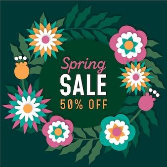Tons verdes coloridos primavera venda em estilo de jornal