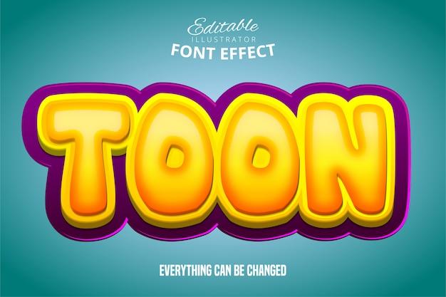Toon texto, efeito 3d roxo e amarelo fonte editável