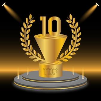 Top 10 de design de prêmio do pódio dourado