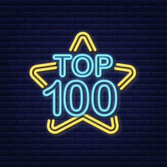 Top 100 - top ten ouro com etiqueta de néon azul em fundo preto. ilustração vetorial.