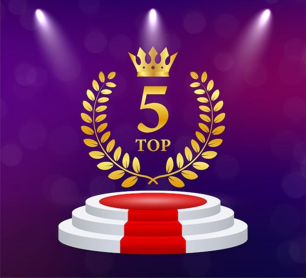 Top 5. coroa de louros dourada. prêmio da vitória. taça troféu. ilustração.