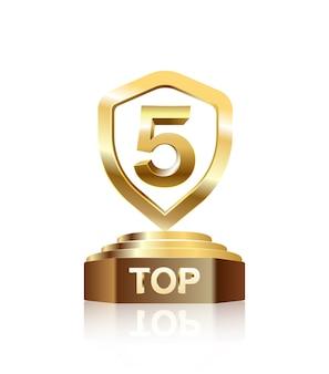 Top 5 dos troféus de ouro no pódio