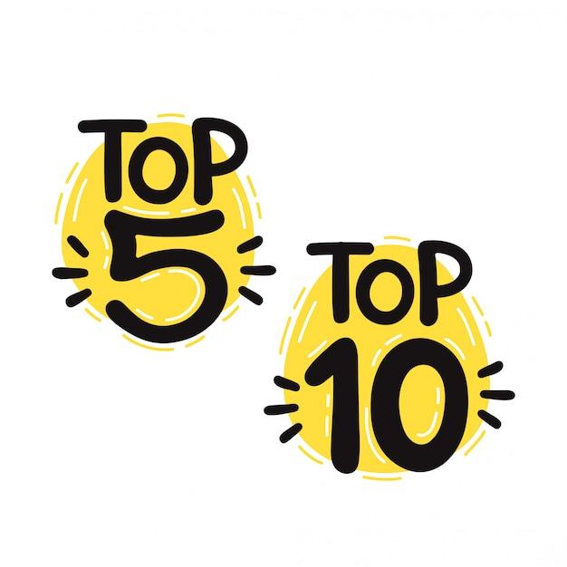 Top 5 e 10 conjunto de letras. isolado no fundo branco