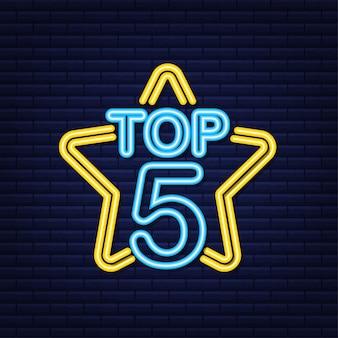 Top 5 - top ten ouro com etiqueta neon azul em fundo preto. ilustração vetorial.