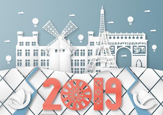 Top famoso marco e construção do país de paris para viagens e turismo