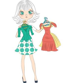 Top modelo de garota linda e surpresa experimentando um vestido extravagante
